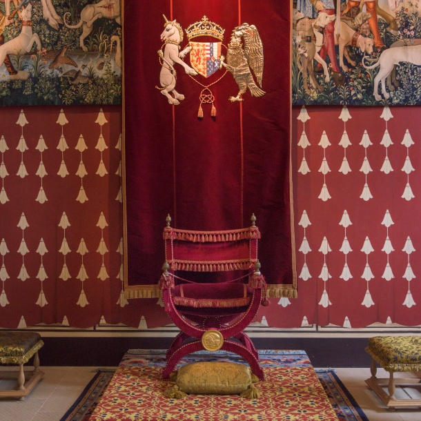 Throne chair in royal palace, Stirling Castle, Stirling, Scotland