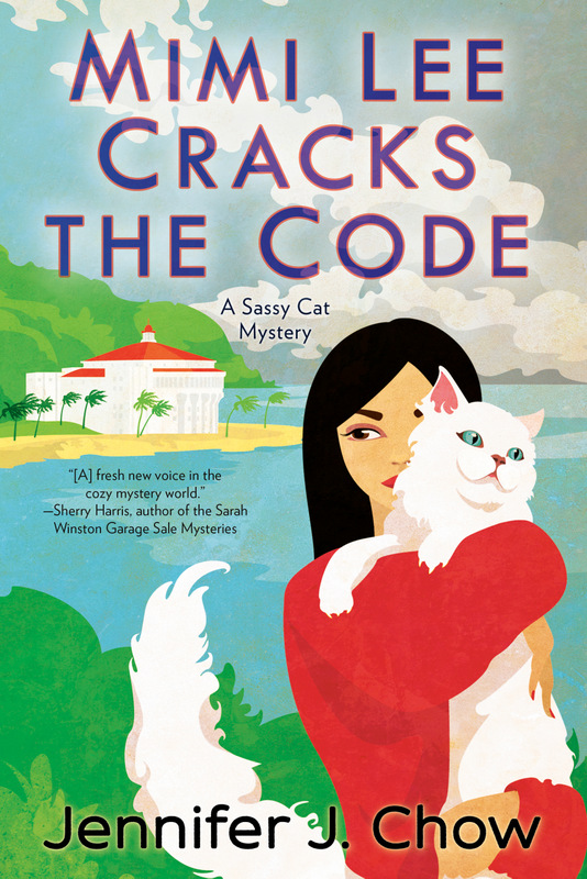 cover of MIMI LEE CRACKS THE CODE with Mimi Lee and her cat on Catalina Island under gray skies