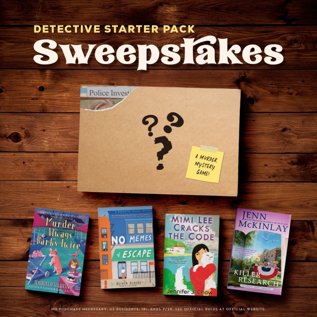 Detective Starter Pack Sweepstakes with a mystery box containing a murder mystery game and four books: Murder Always Barks Twice, No Memes of Escape, Mimi Lee Cracks the Code, and Killer Research